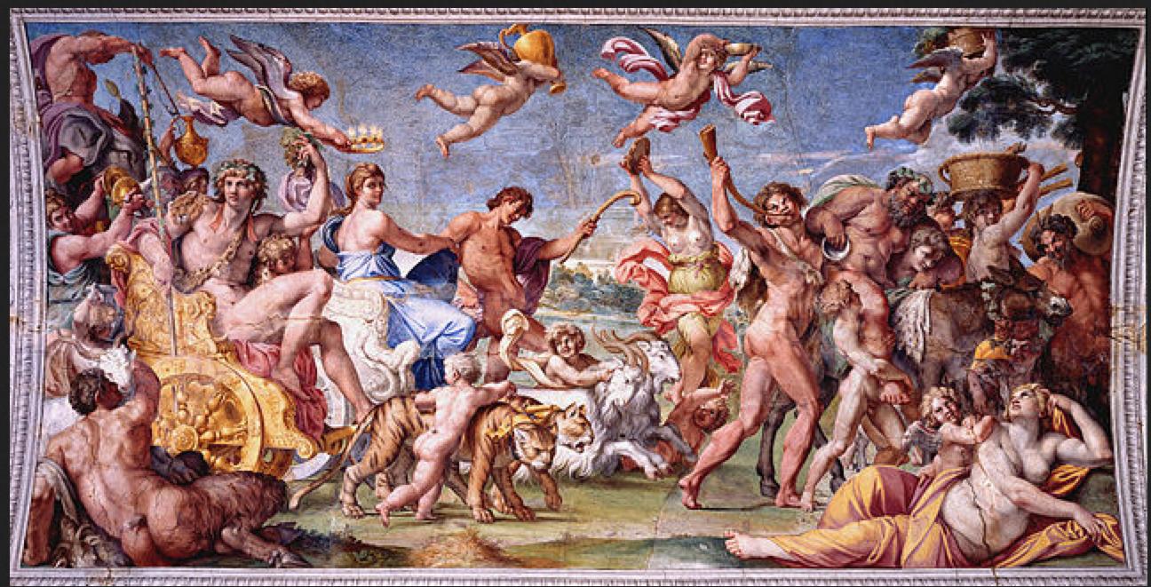 Annibale Carraci, Il trionfo di Bacco e Arianna. Palazzo Farnese, Roma.